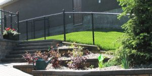 Chain link fence, landscaping