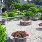 Stone firepit with patio