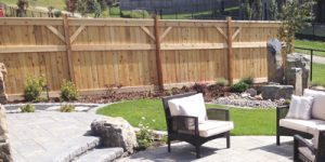 Wood fence residential landscaping