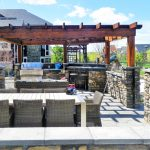 Outdoor kitchen, with Stone Patio & Arbor