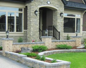 Stone planters and retaining walls
